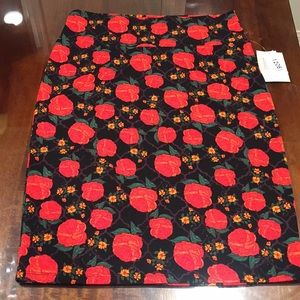 L LuLaRoe Cassie Skirt Roses B006 33